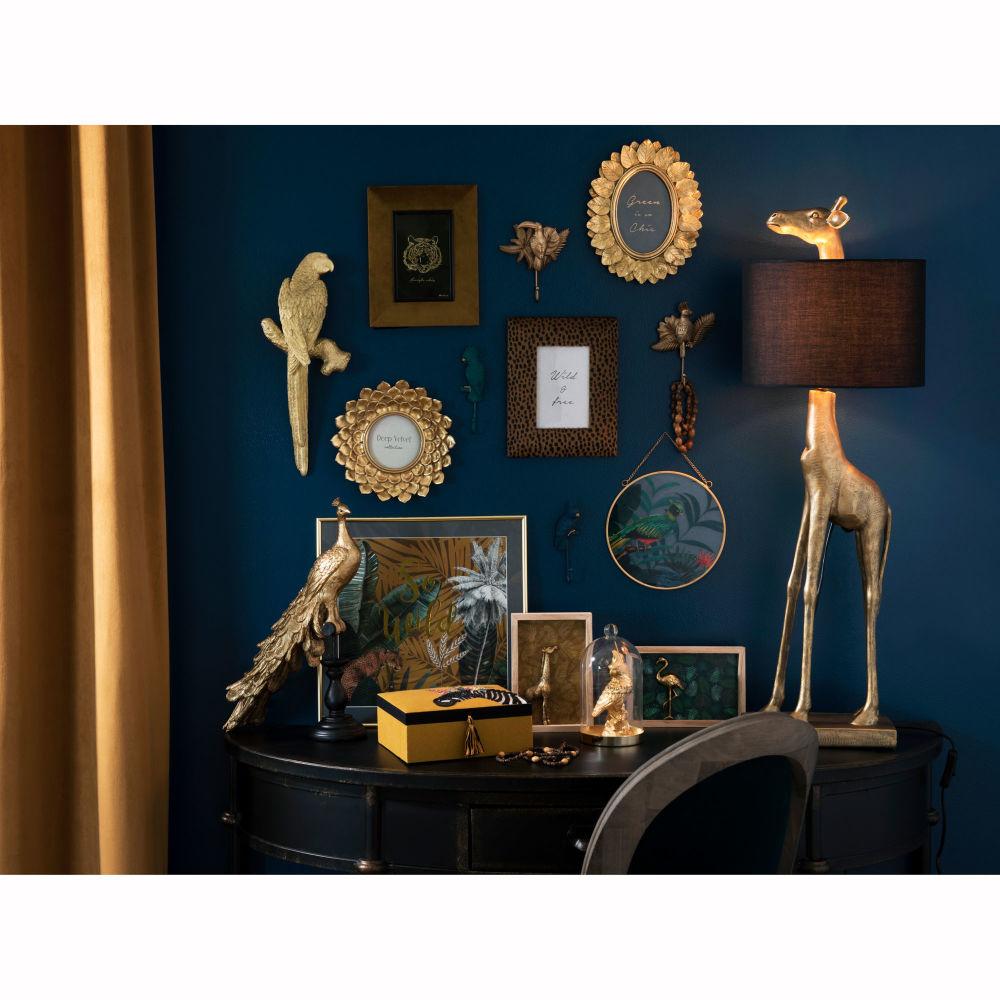 Lampe girafe dorée et abat-jour noir