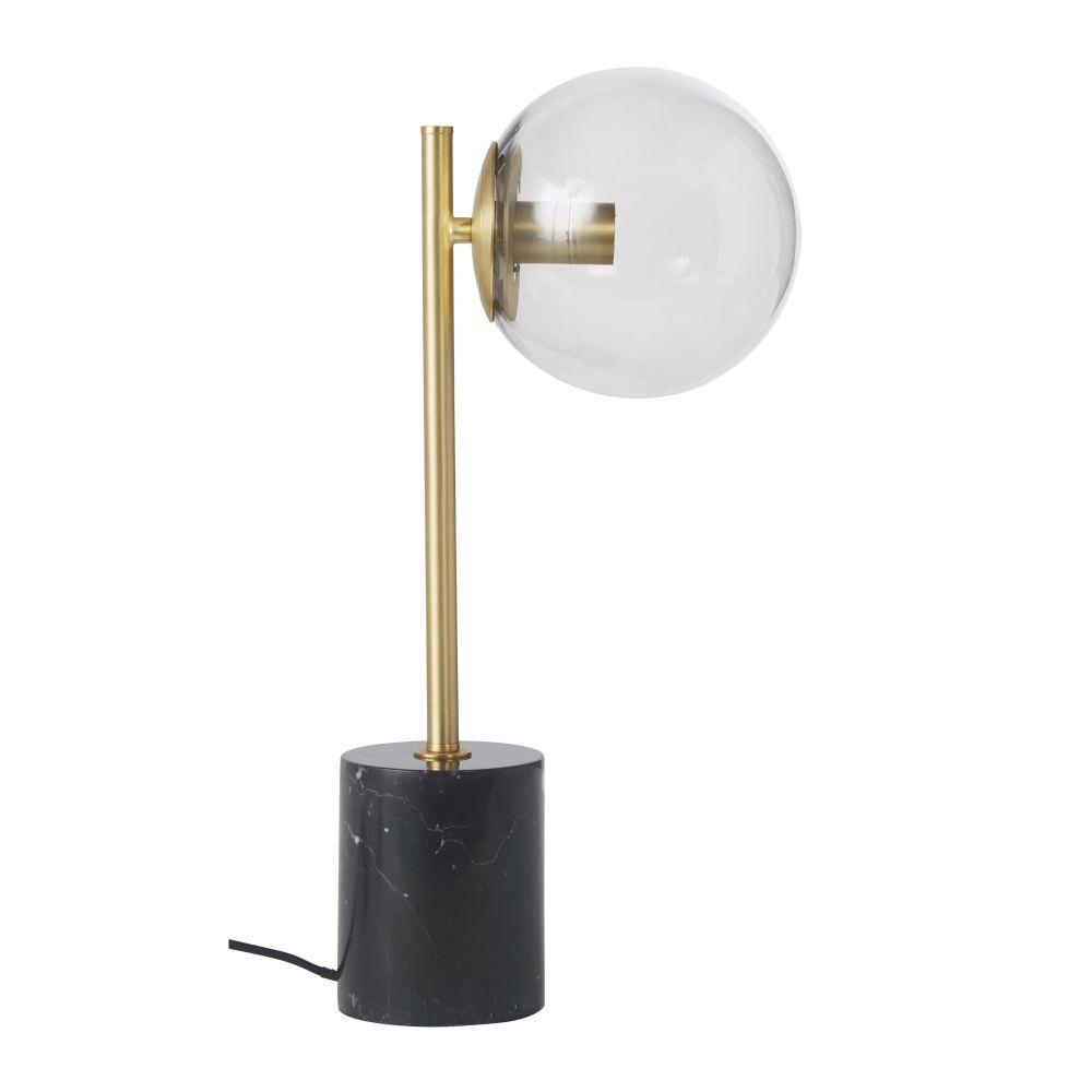 Lampe globe en marbre noir et métal doré