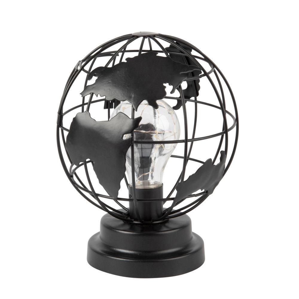 Lampe globe en métal noir ajouré avec ampoule LED