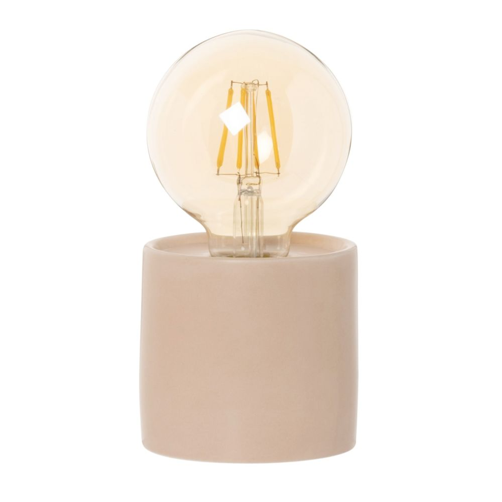 Lampe globe en verre et argile rose H16