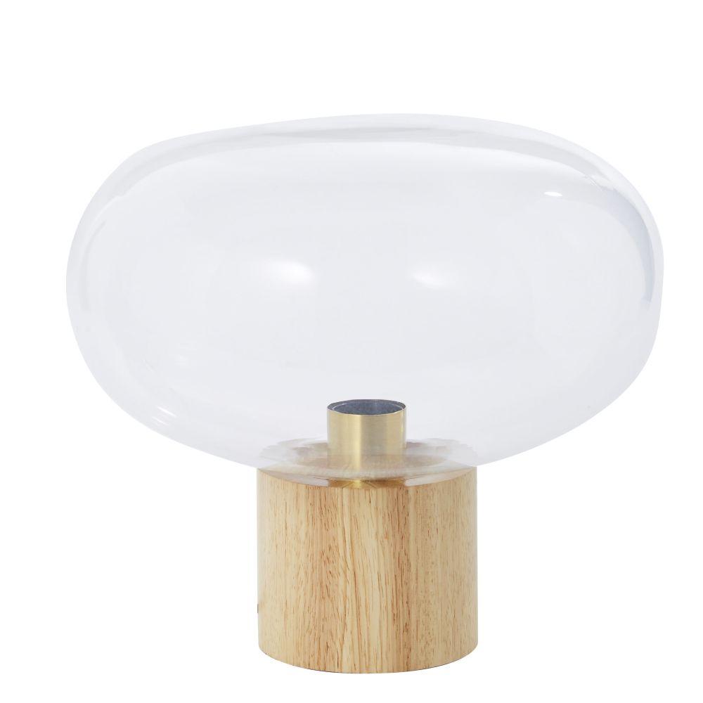 Lampe globe en verre et hévéa