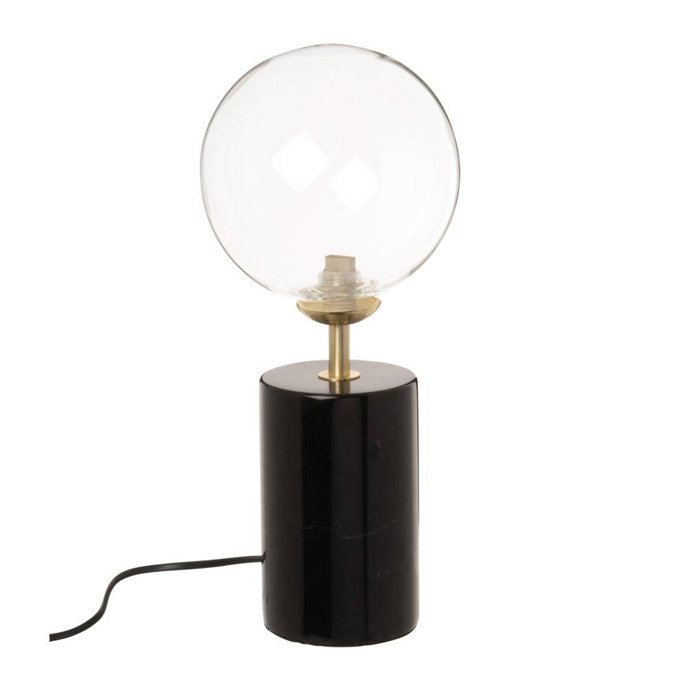 Lampe globe en verre et marbre noir
