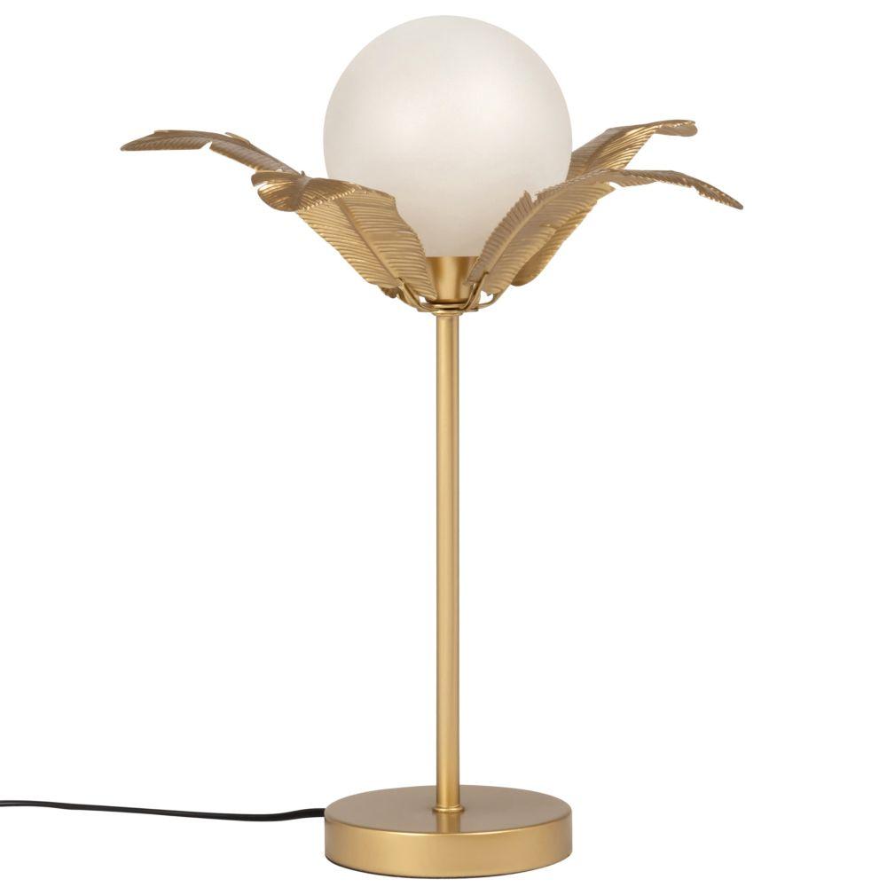 Lampe globe en verre et métal doré