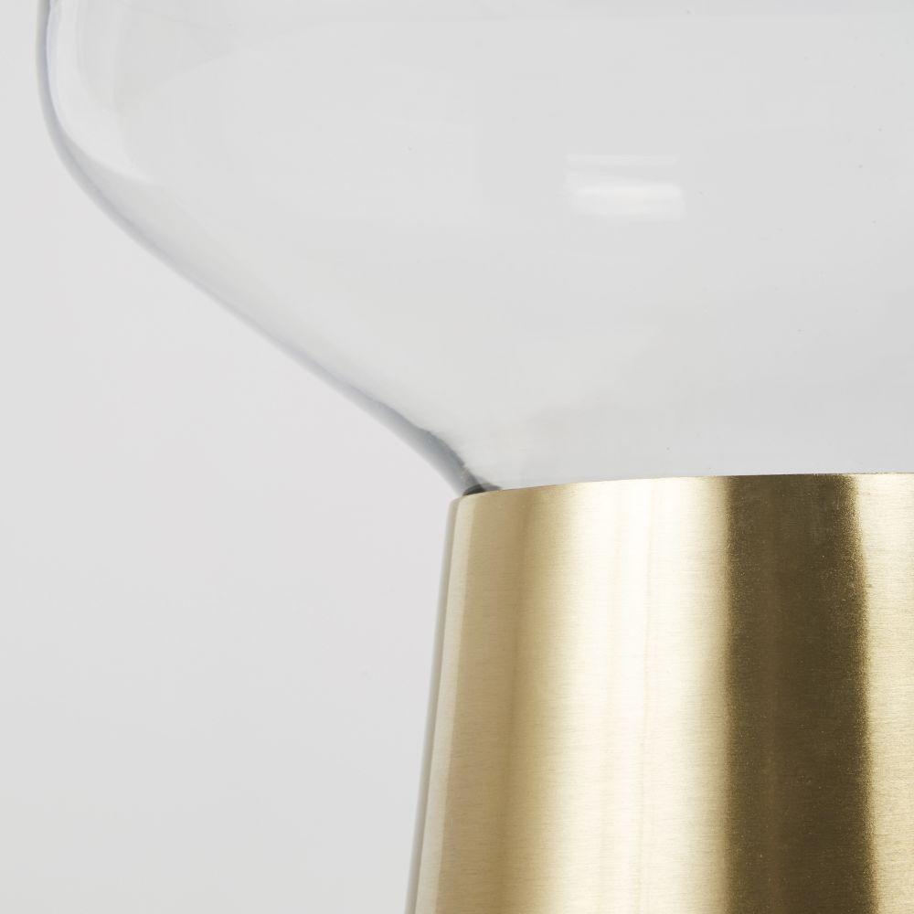 Lampe globe en verre et métal doré coloris laiton mat