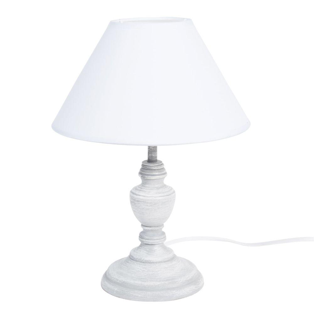 Lampe grise effet blanchi et abat-jour blanc