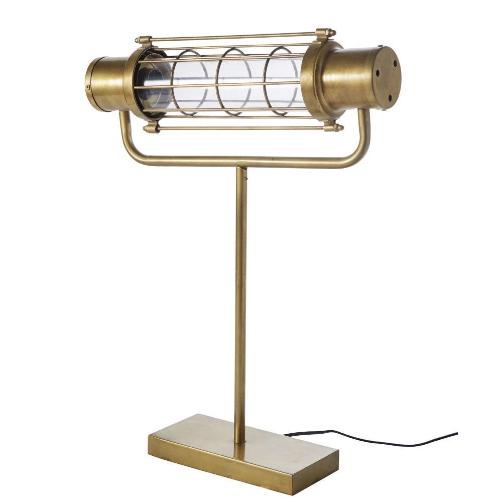 Lampe indus en métal doré effet vieilli