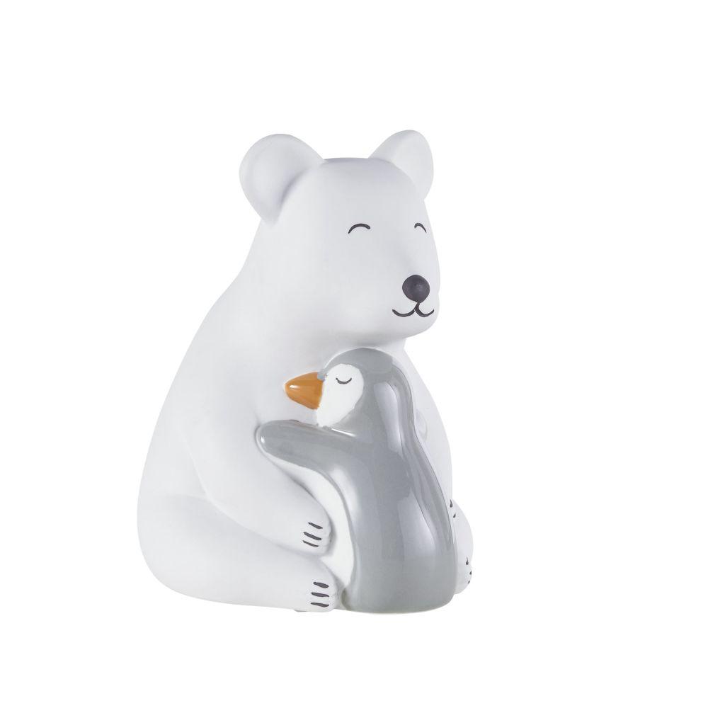 Lampe ours et pingouin en céramique blanche, grise et orange
