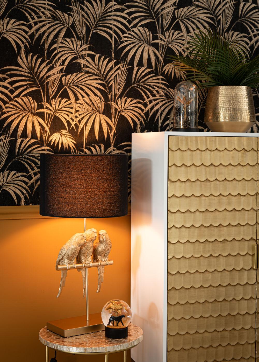 Lampe perroquets dorés et abat-jour en coton noir