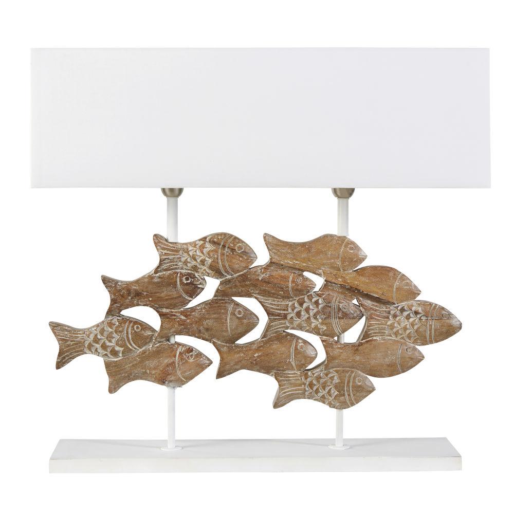 Lampe poissons en manguier sculpté et abat-jour blanc