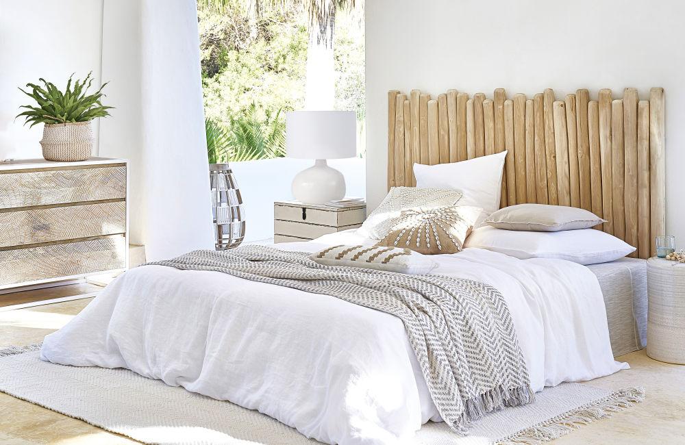 Lampe ronde en céramique blanc et abat-jour en coton blanc
