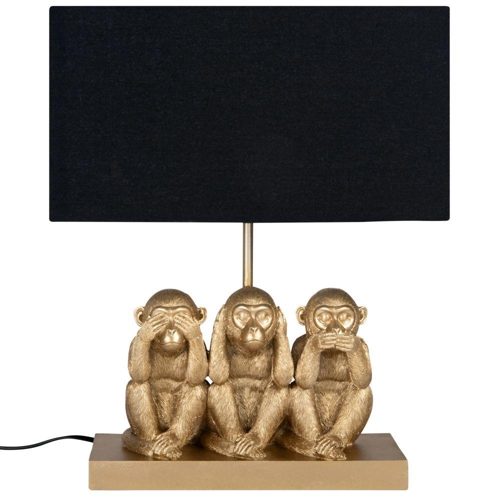 Lampe singes dorés et abat-jour en coton noir