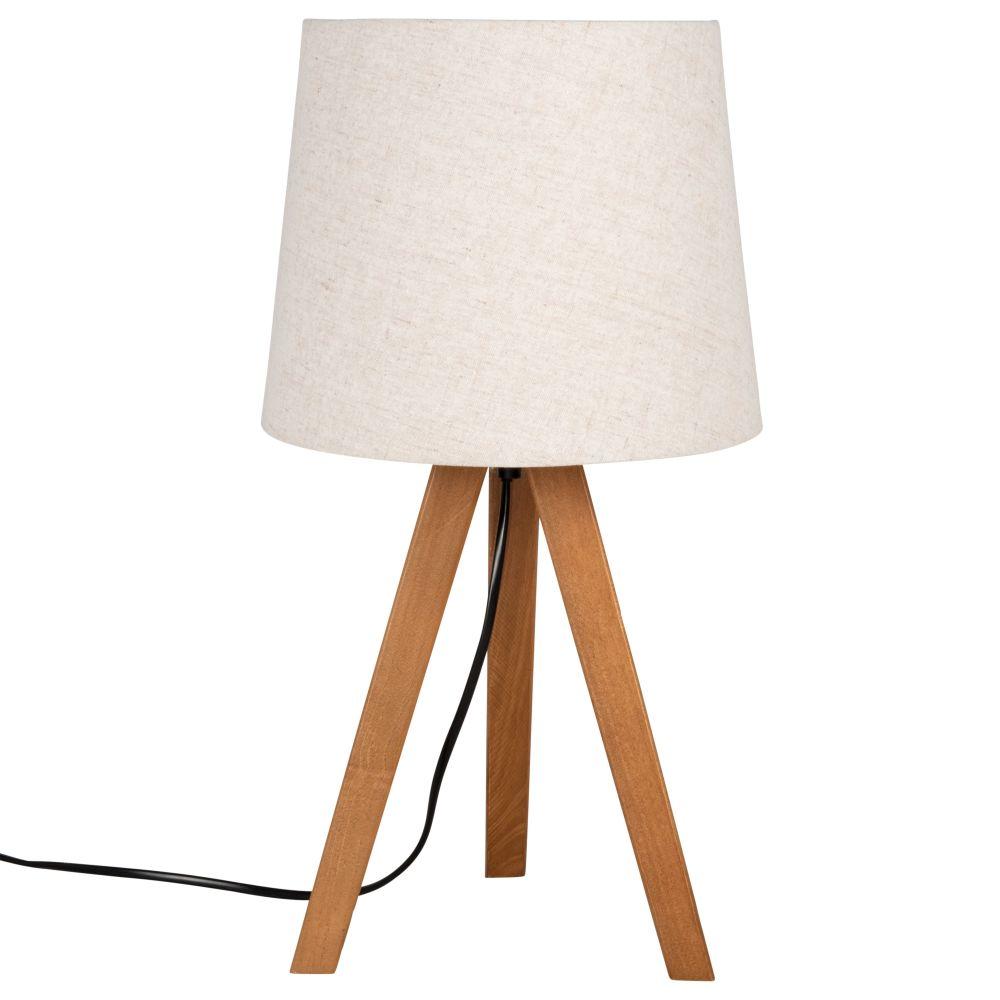 Lampe trépied marron et abat-jour écru