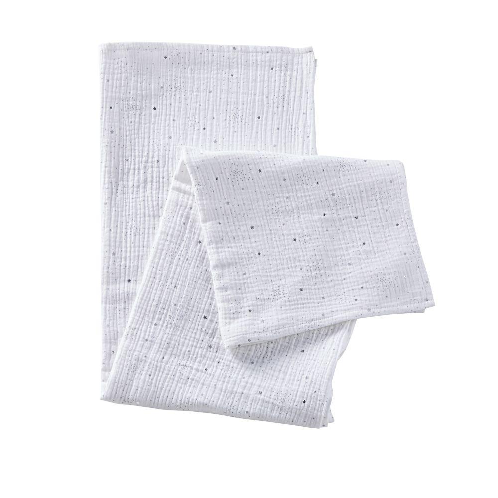 Lange bébé en coton blanc motifs étoiles grises et argentées 120x120