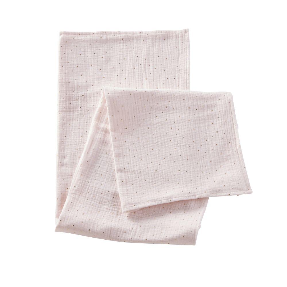 Lange bébé en coton rose motifs à pois dorés 100x100
