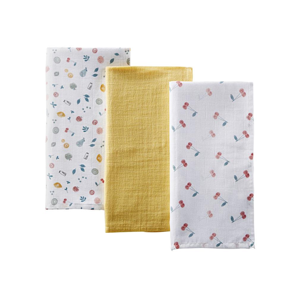 Langes Bébé En Coton Jaune Et à Motifs Multicolores (x3)