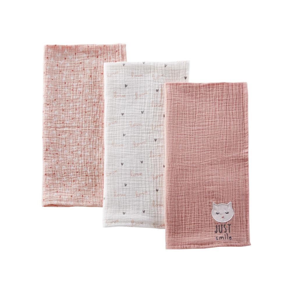 Langes bébé en coton rose, blanc et gris (x3)