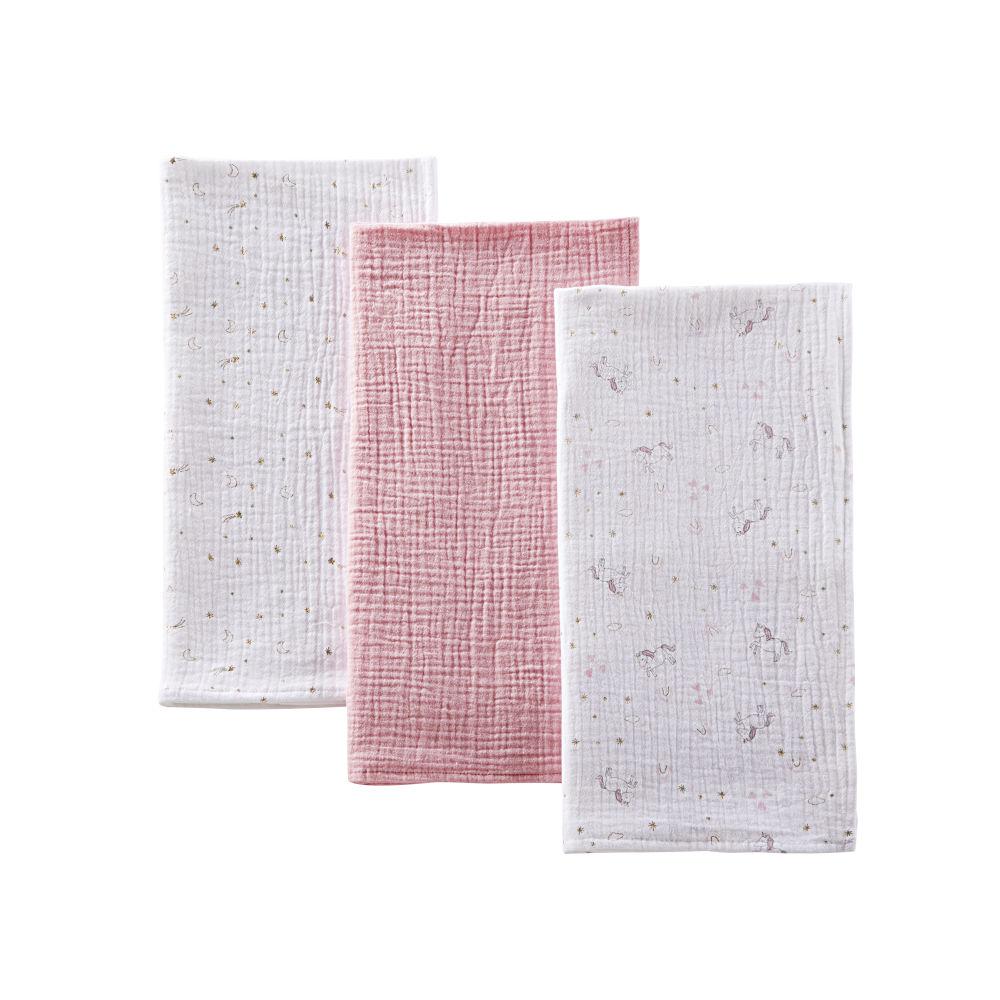 Langes bébé en coton rose, doré et blanc (x3)