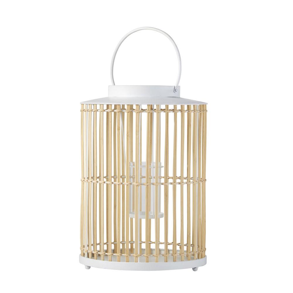Lantaarn Uit Beige Bamboe En Wit Metaal H50