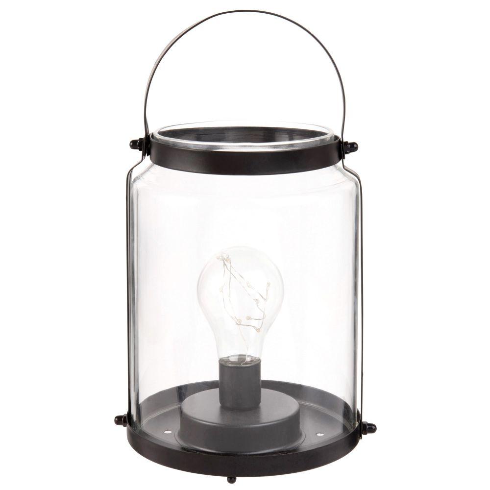 Lanterne ampoule lumineuse en verre et métal