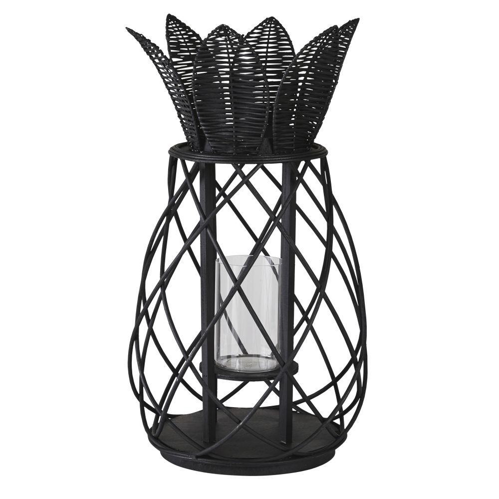 Lanterne ananas en rotin noir mat