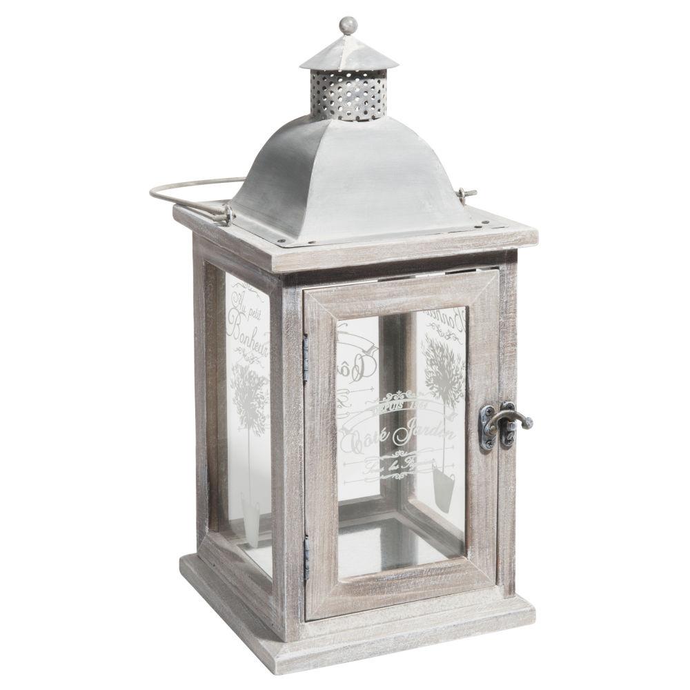 Lanterne blanchi H 36 cm