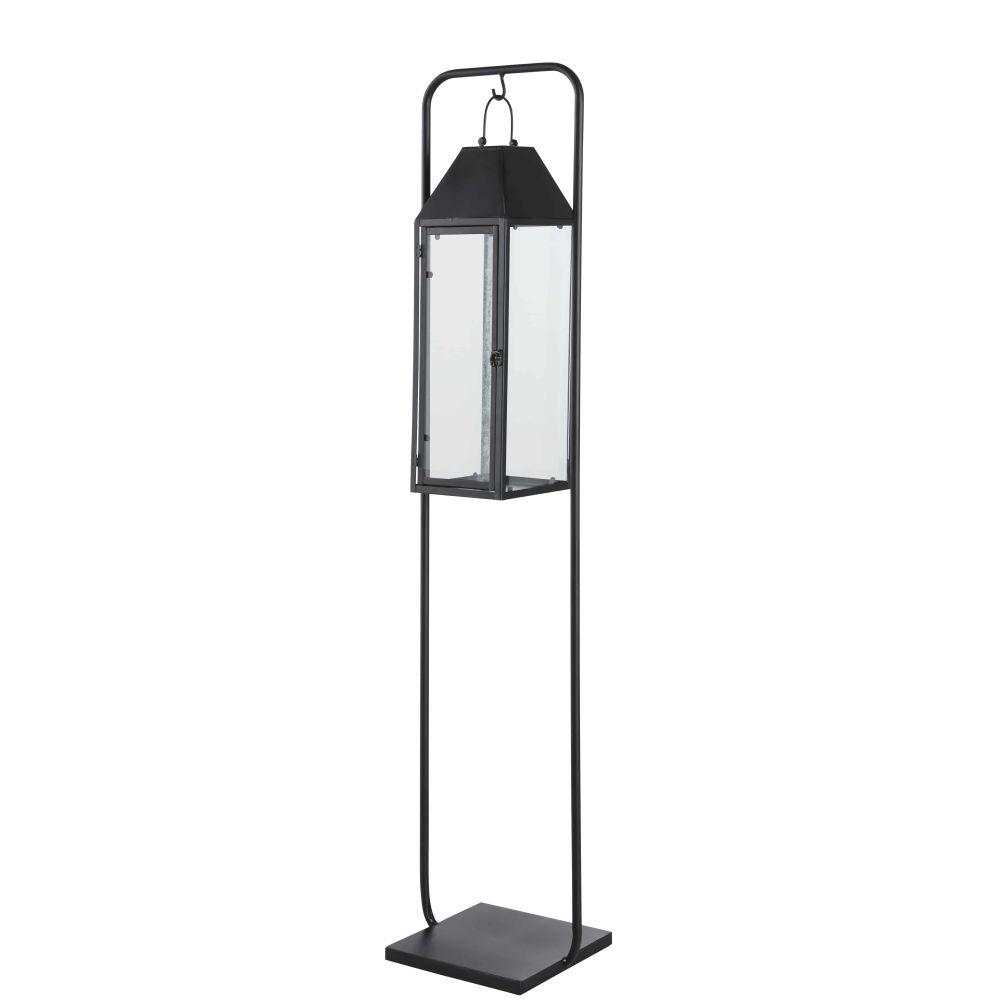 Lanterne d'extérieur en métal noir avec socle