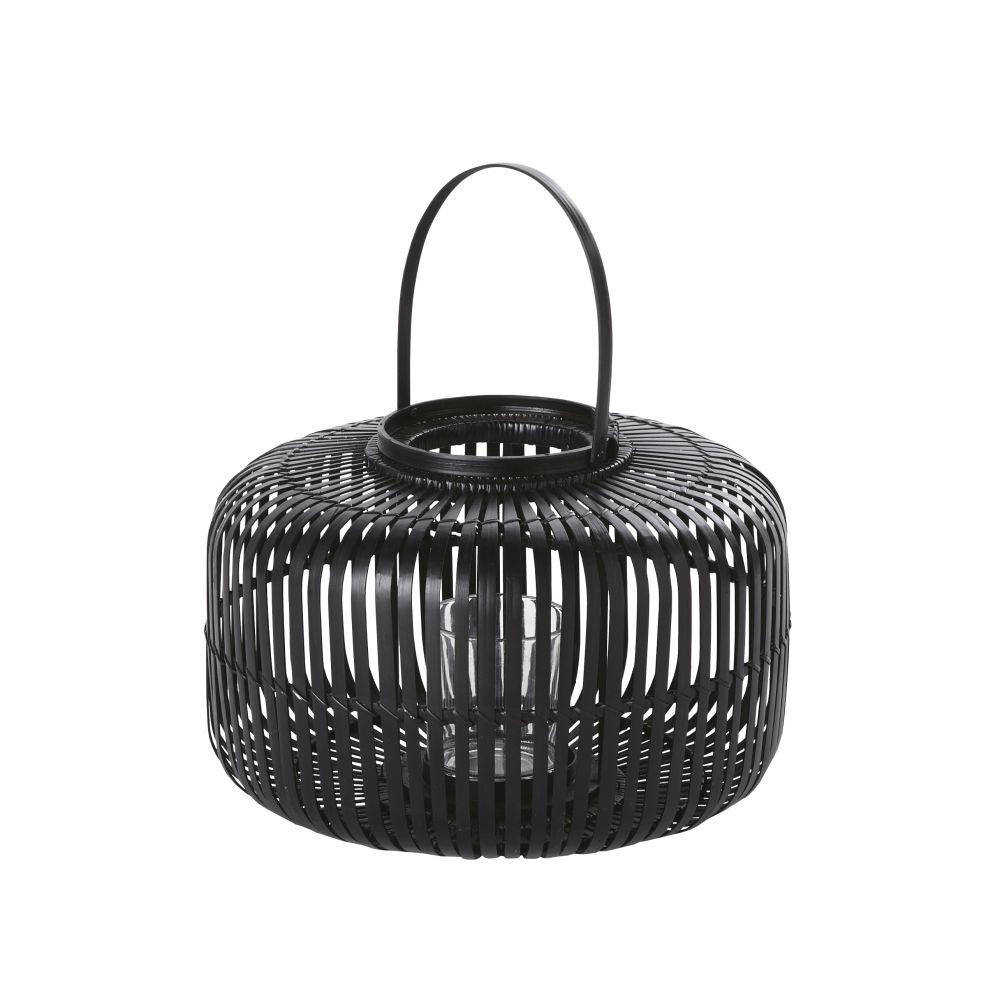 Lanterne en bambou noir et verre H24
