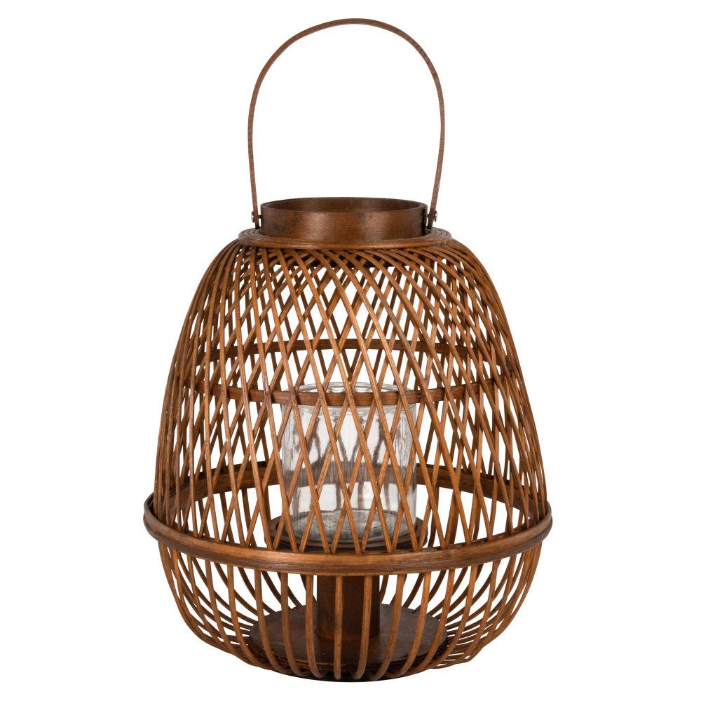 Lanterne en bambou tressé et verre