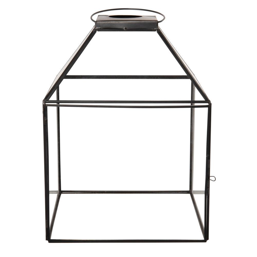 Lanterne en verre transparent et métal noir