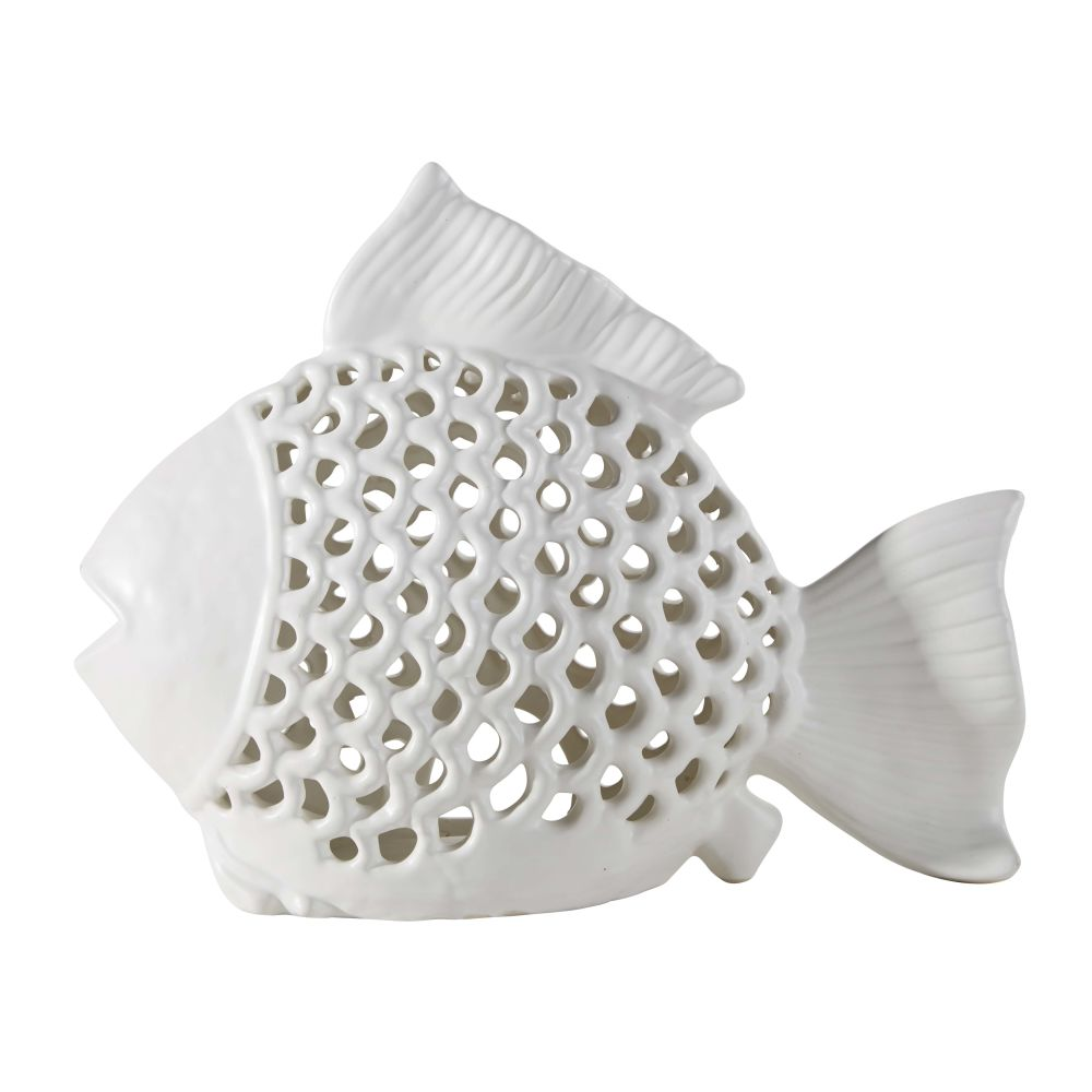 Lanterne poisson en céramique blanche