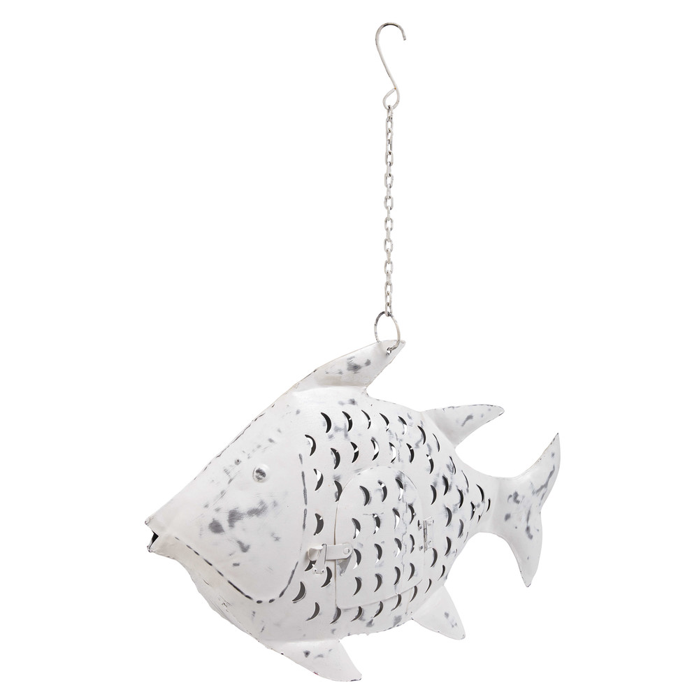 Lanterne poisson en métal blanc patiné