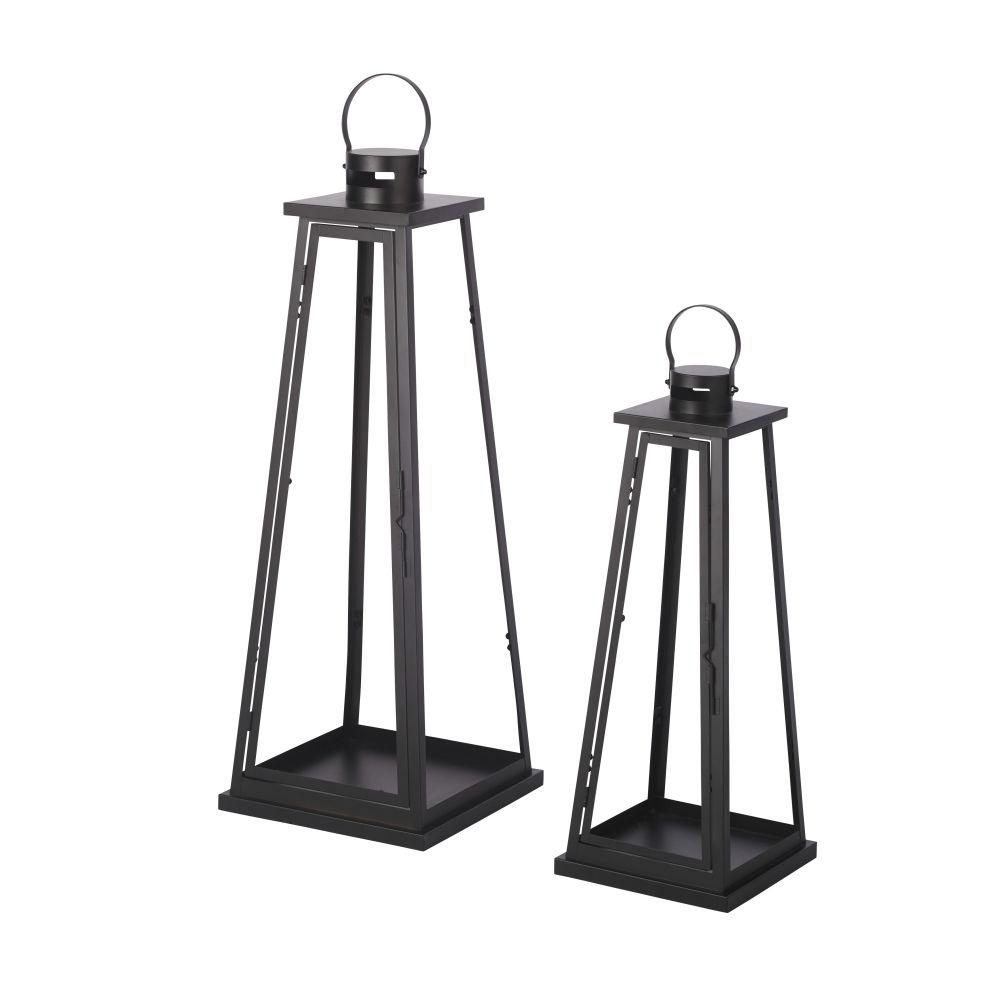 Lanternes d'extérieur en métal noir (x2)