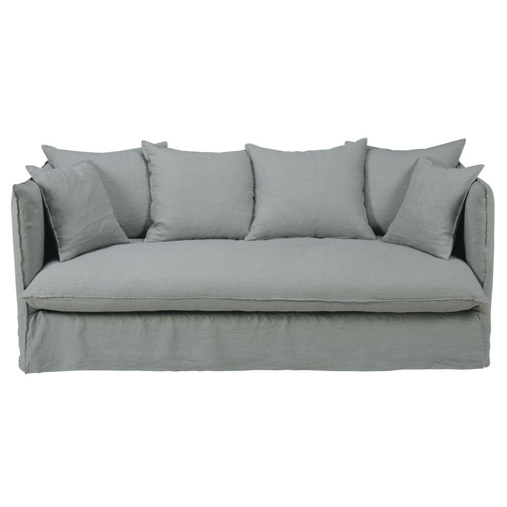 Leinen-Crinkle-Bezug f�r 3/4-Sitzer-Sofa, hellgrau