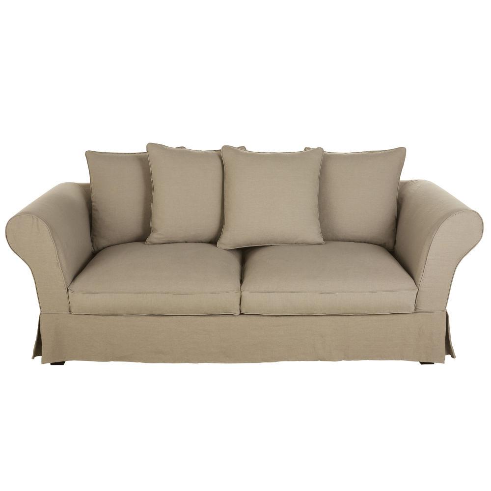 Leinen-Crinkle-Bezug f�r ausziehbares 3/4-Sitzer-Sofa (12 cm), beige