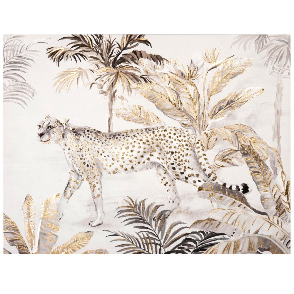Lienzo con estampado de leopardo y jungla 70 x 54