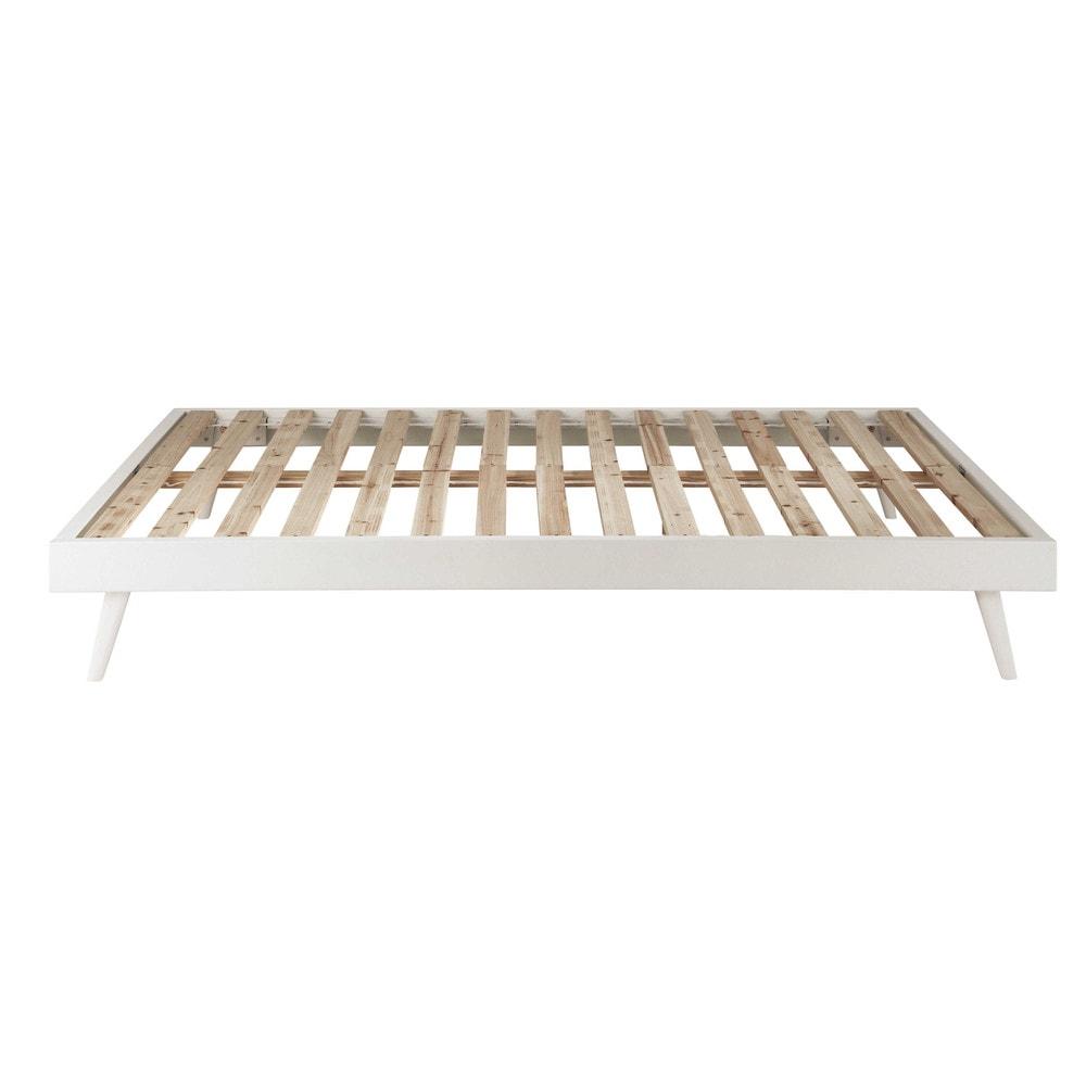 Lit banquette style scandinave 140x190 en pin blanc