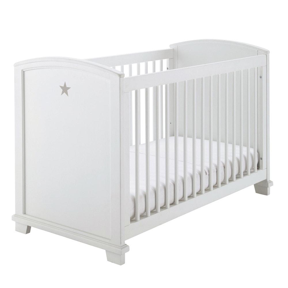 Lit bébé àbarreaux blanc imprimé étoile L131