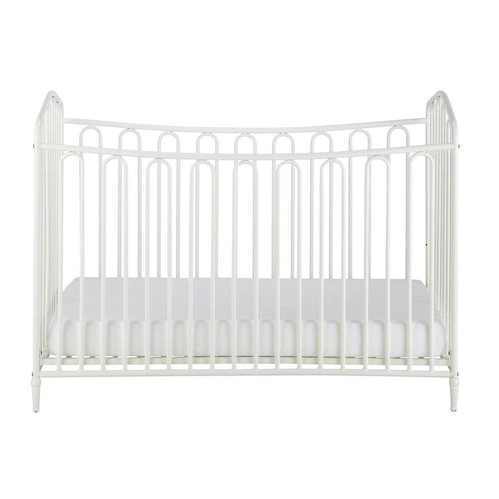 Lit bébé à barreaux en métal blanc cassé L126