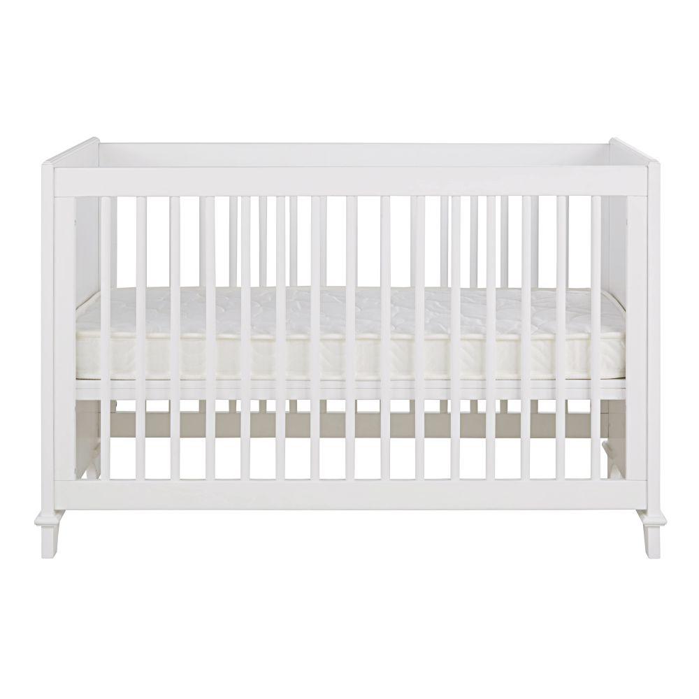 Lit bébé à barreaux en pin et hêtre blanc L128