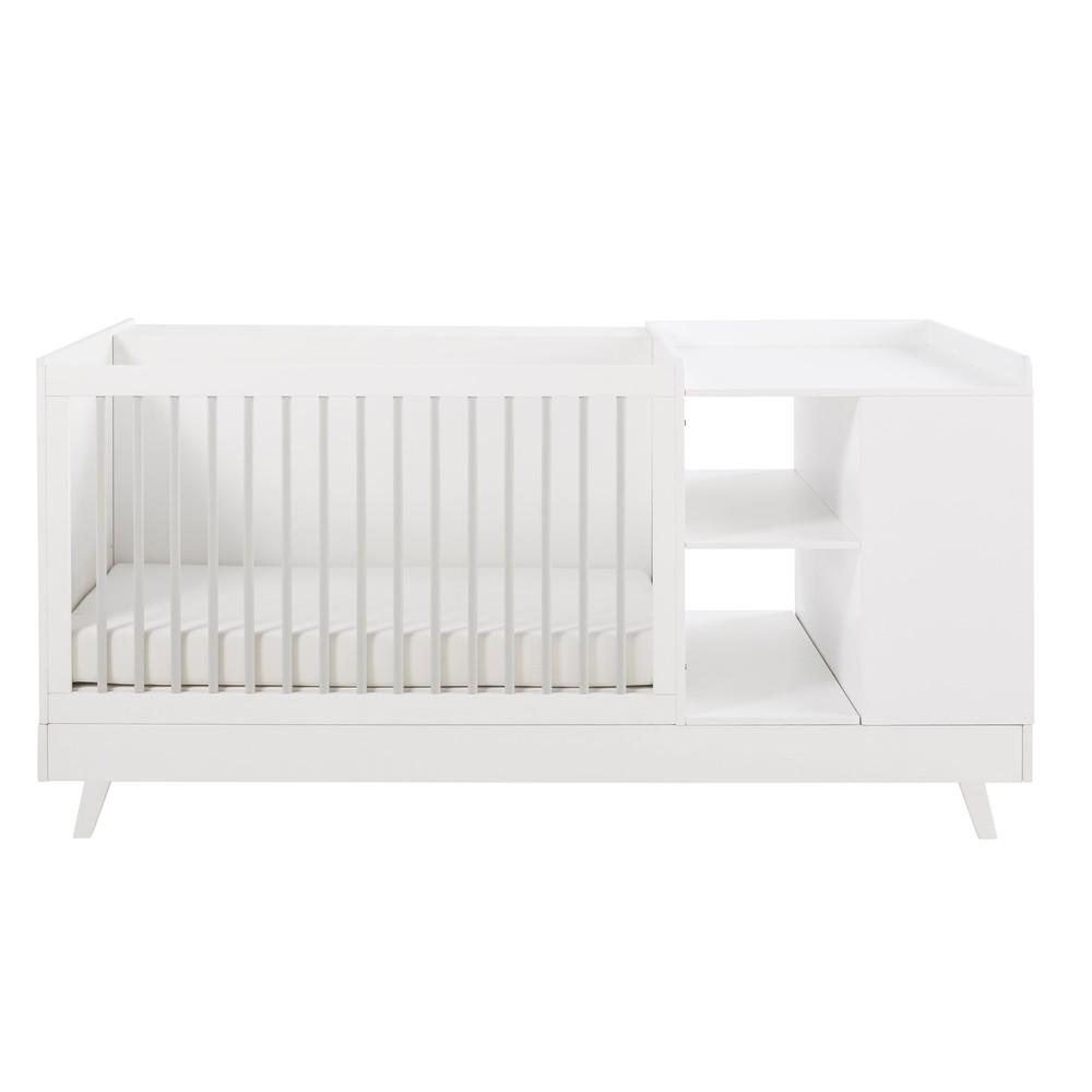 Lit bébé combiné blanc et gris L190