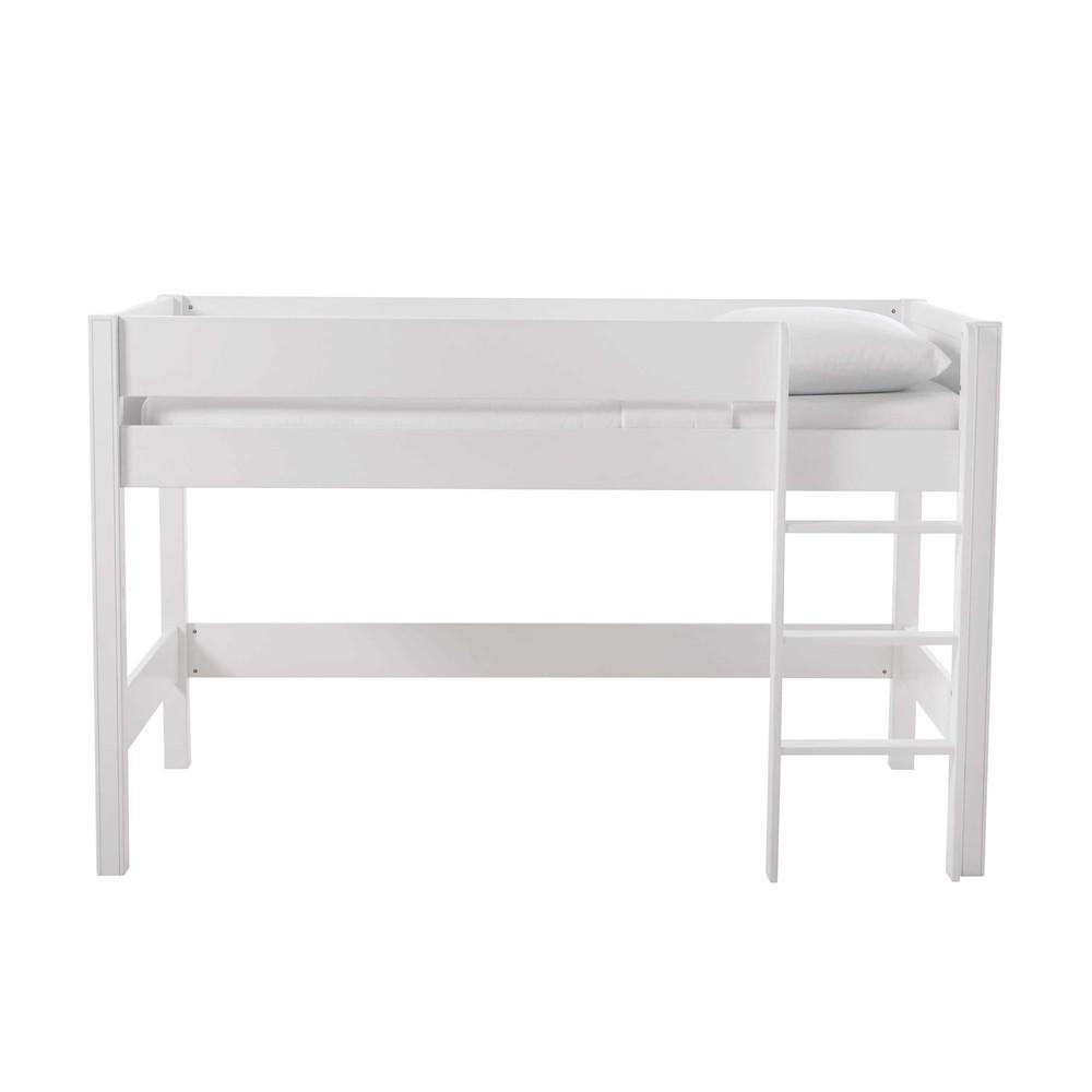 Lit Surélevé Enfant 90x190 Blanc