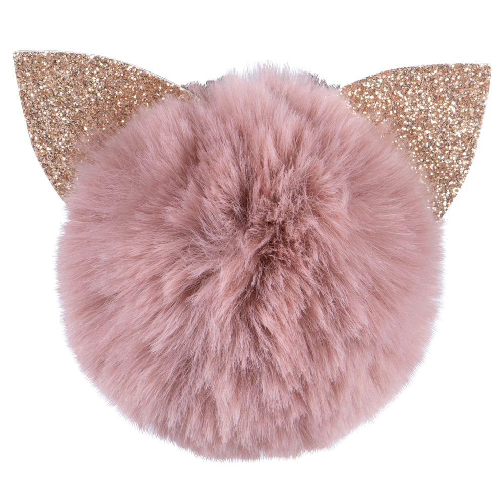 Magnet pompon chat rose et paillettes dorées