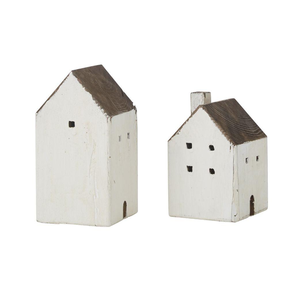 Maisons déco en bois recyclé (x2)