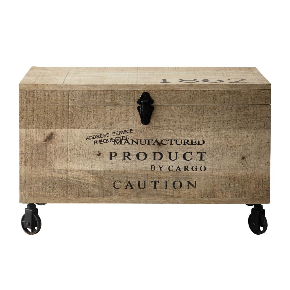 Malle à roulettes en bois L 70 cm