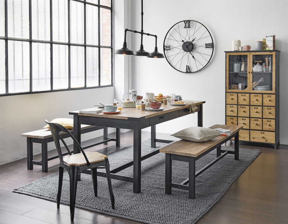 Photo of Mango wood and metal dining table l200