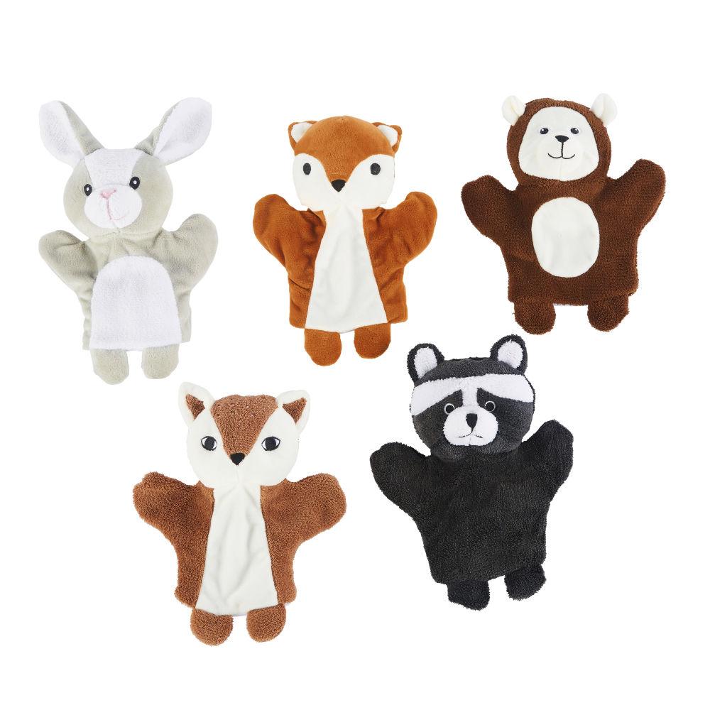 Marionnettes animaux de la forêt multicolores (x5)