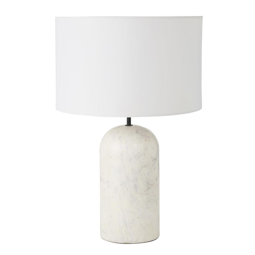 Marmeren Lamp Met Witte Lampenkap