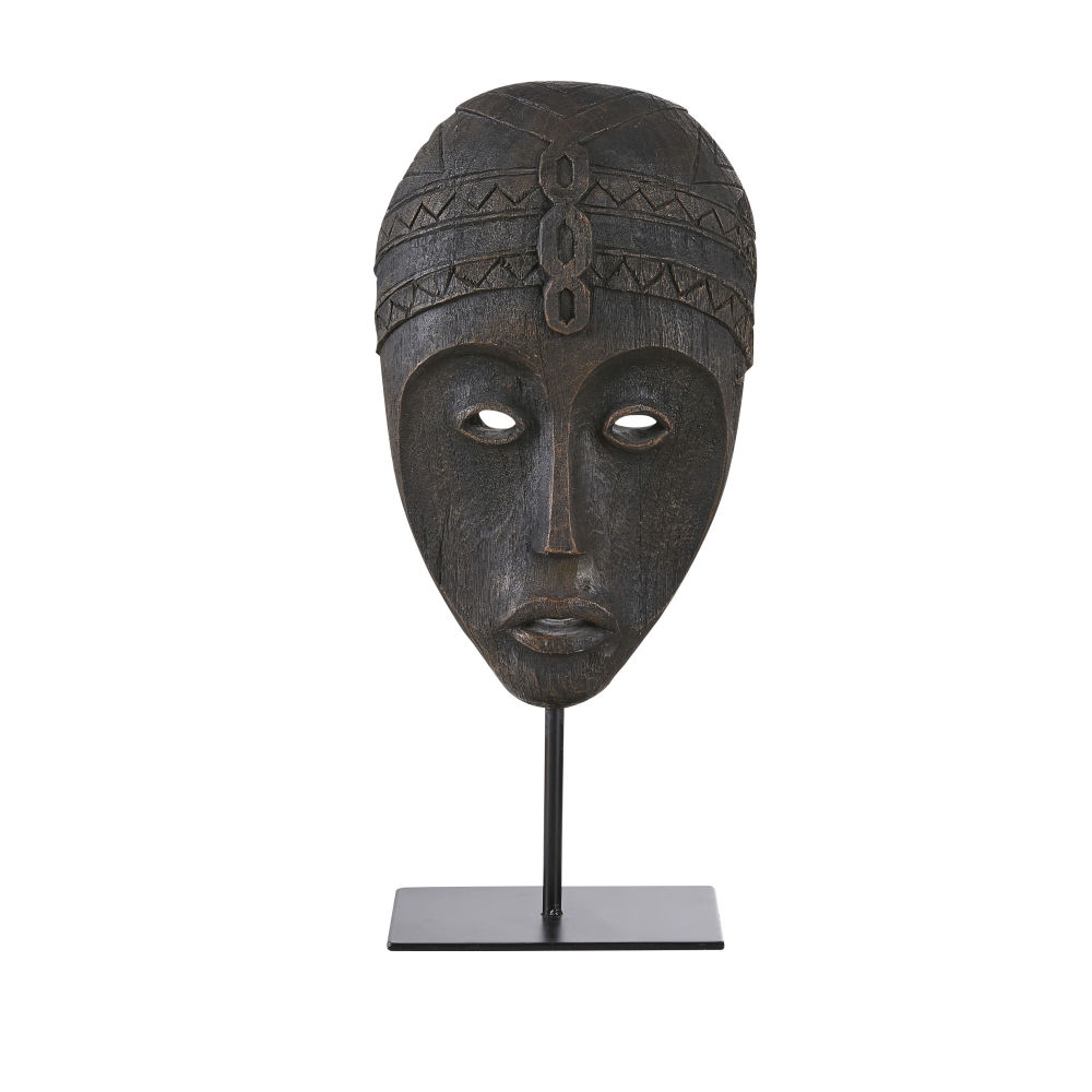 Masque africain avec socle noir effet vieilli H45