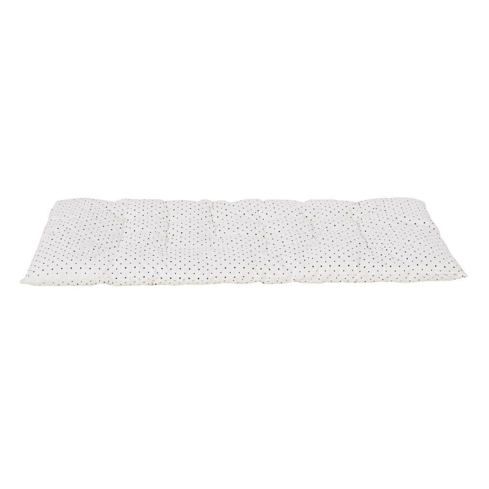 Matelas de sol en coton blanc imprimé étoiles noires 60x120