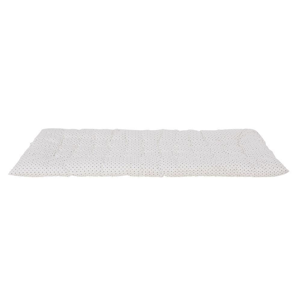 Matelas de sol en coton blanc imprimé étoiles noires 90x190